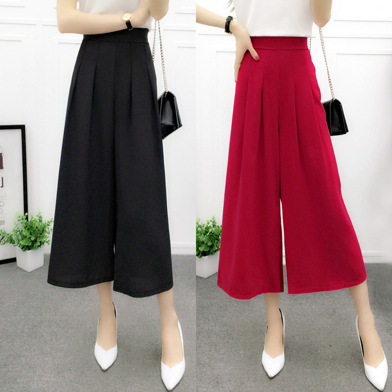 2019Women's summer cotton linen   wide     leg     pants   big yards loose   pant   fashion culottes elastic waist pantyhose female casual   pants