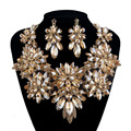 Bridal wedding statement jewelry sets rhinestone crystal necklace champagne color for women's party dress accessories jewelry