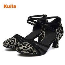Leopard Closed Toe Dance Shoes Latin Salsa for Women High Heels 5.5cm Modern Ballroom Jazz Dancing Shoes Soft Sole Adult Sandals цены онлайн