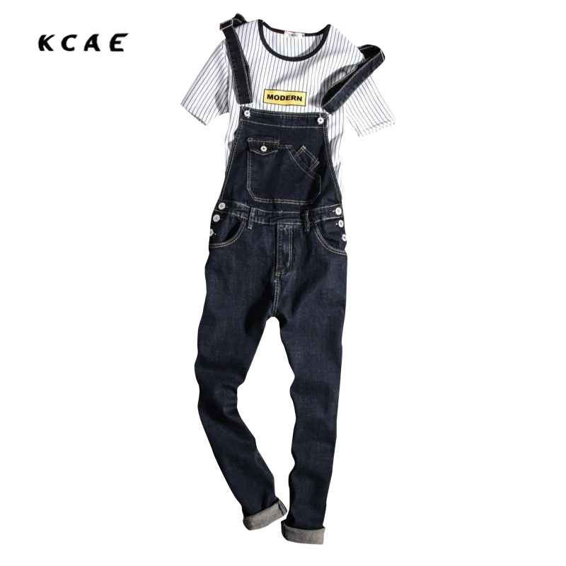 New Mens Cotton Denim Blue Jumpsuit Bib Overall Jeans Men Fashion Casual Male Denim Jumpsuit Long Trousers S-XXXL