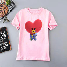 5743cc25702eeb 2019 lato krótki rękaw moda damska BTS T-shirt z nadrukiem Casual Kawaii  Harajuku koszula kobiety koreański styl Tumblr Top .