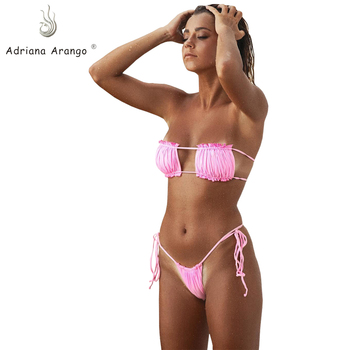 b6e14bc7029c Traje de baño de talla grande para mujer de retazos Push Up traje de baño  brasileño con tiras ...