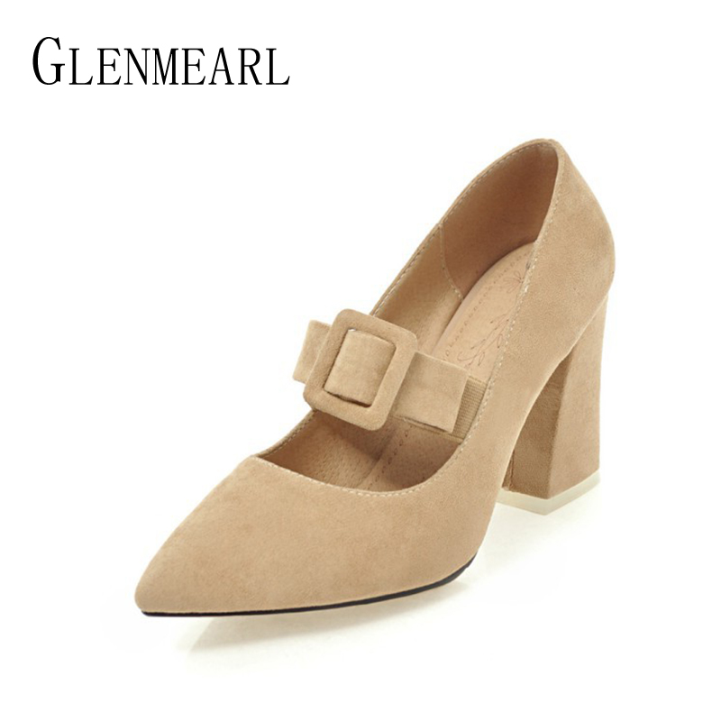 Suede Women Heels Shoes Pumps Fashion Brand Black Spring Thick High Heels Single Ladies Wedding Pumps Shoes Plus Size 34-46 siketu 2017 free shipping spring and autumn high heels shoes fashion women shoes wedding shoes thick sandalsl pumps g042