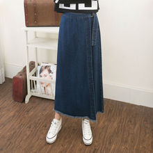 Free Shipping Spring Autumn female slim hip jeans skirt women new summer women cotton denim skirt sexy solid jeans Long skirt(China)