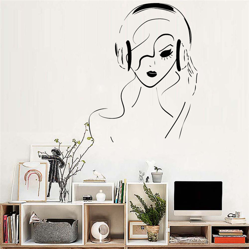 girl headphones vinyl removable wall sticker musical teen room music
