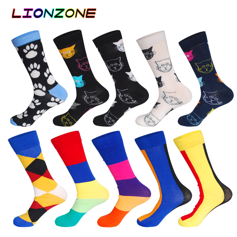 10 Pairs/Lot Men Socks Combed Cotton Brand Animal Cats & Straight Without Heel Hosiery Funny Happy Dress Male Socks + Free Gift
