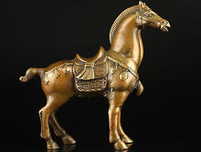 brass Collectable Vintage Old Brass Casting Good Luck Vivid Horse Art Statu Garden Decoration 100% real Bronze