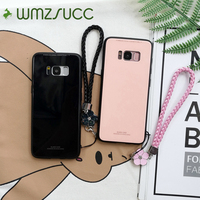 WMZSUCC Business Plain Scratch Proof Tempered Glass Phone Case For Samsung Galaxy S8 S8 Plus Note 8 S9 S9 Plus With Lanyard