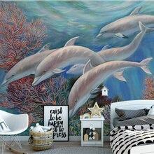 Custom 3D Non-Woven Wallpaper child Photo Mural Wallpaper Roll Sea Cartoon Dolphin Home Decor For Kids Room Bedroom custom 3d photo wallpaper sea world theme roman 3d stereoscopic space dolphin home decoration non woven roll