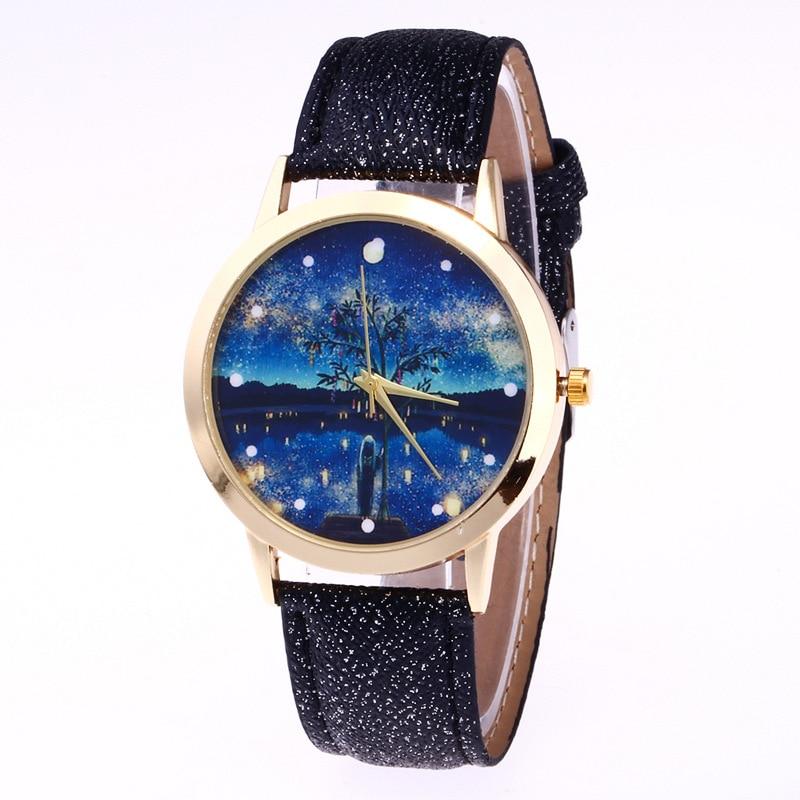 Moon Photo Watch Unisex watch Women Men Wristwatch Starry Sky Tree Space Relogio Little Star Wristwatch Special Birthday Gift moon flac jeans