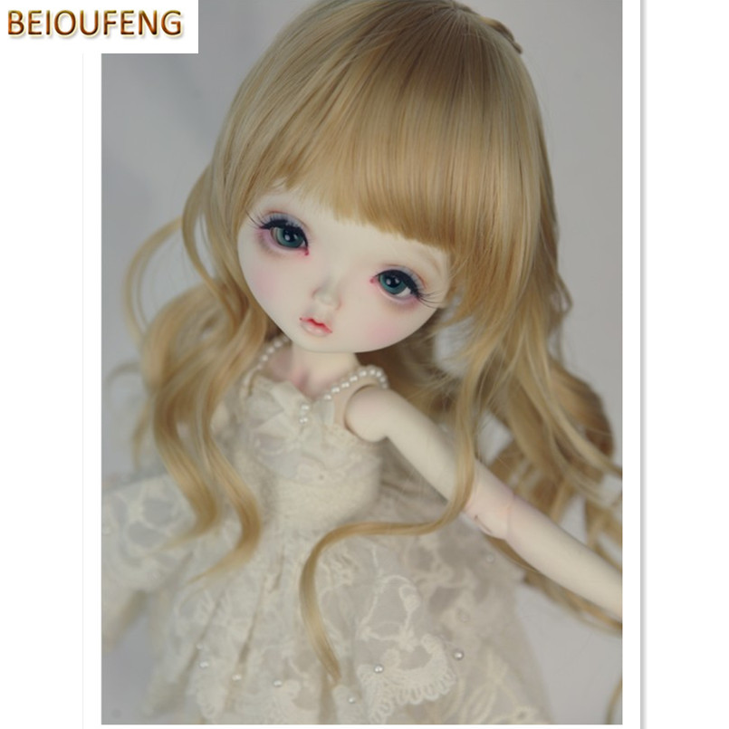 BEIOUFENG 1/6 SD BJD Doll Wigs High Temperature Wire Long Curly Hair,Synthetic Doll Hair 1/6 Scale Accessories for Dolls beioufeng 1 3 1 4 1 6 bjd sd doll wigs high temperature wire long straight bjd wig with two buns fashion accessories for dolls