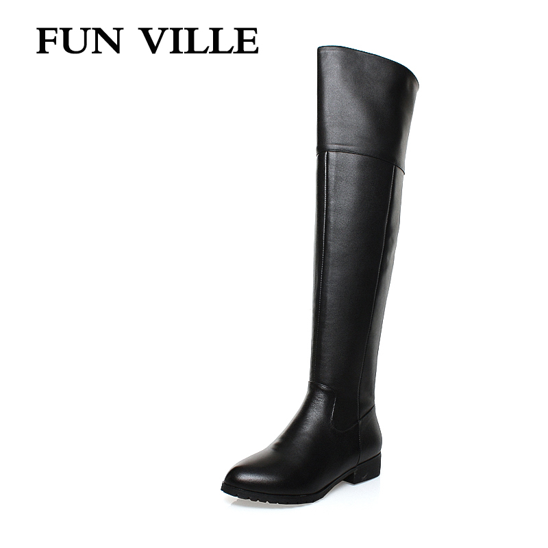 FUN VILLE 2017 New Fashion winter Women over the knee Boots Genuine leather + PU Ladies botas shoes Square toe Zipper size 34-42 dijigirls new autumn winter women over the knee boots shoes woman fashion genuine leather patchwork long high boots 34 43