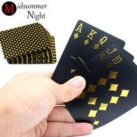 Luxury Black Gold Foil Plated Poker Premium Matte Plastic Board Games PVC 55pcs Deck Waterproof Playing