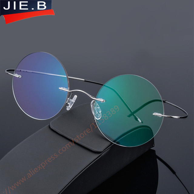 Titanium alloy Rimless Eyeglasses Frame Brand designer Men Glasses ...