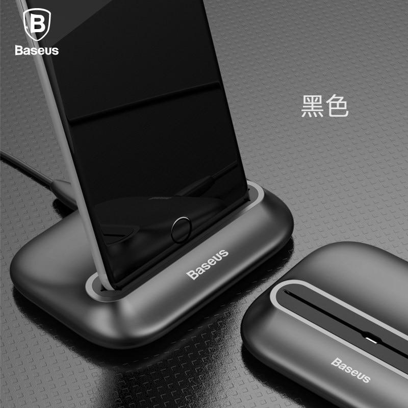 imágenes para Baseus marca volcán serie escritorio estación de carga del muelle del soporte del sostenedor para el iphone 7/7 Plus 6 6 s Plus Con 8 Pin Cable del Cargador
