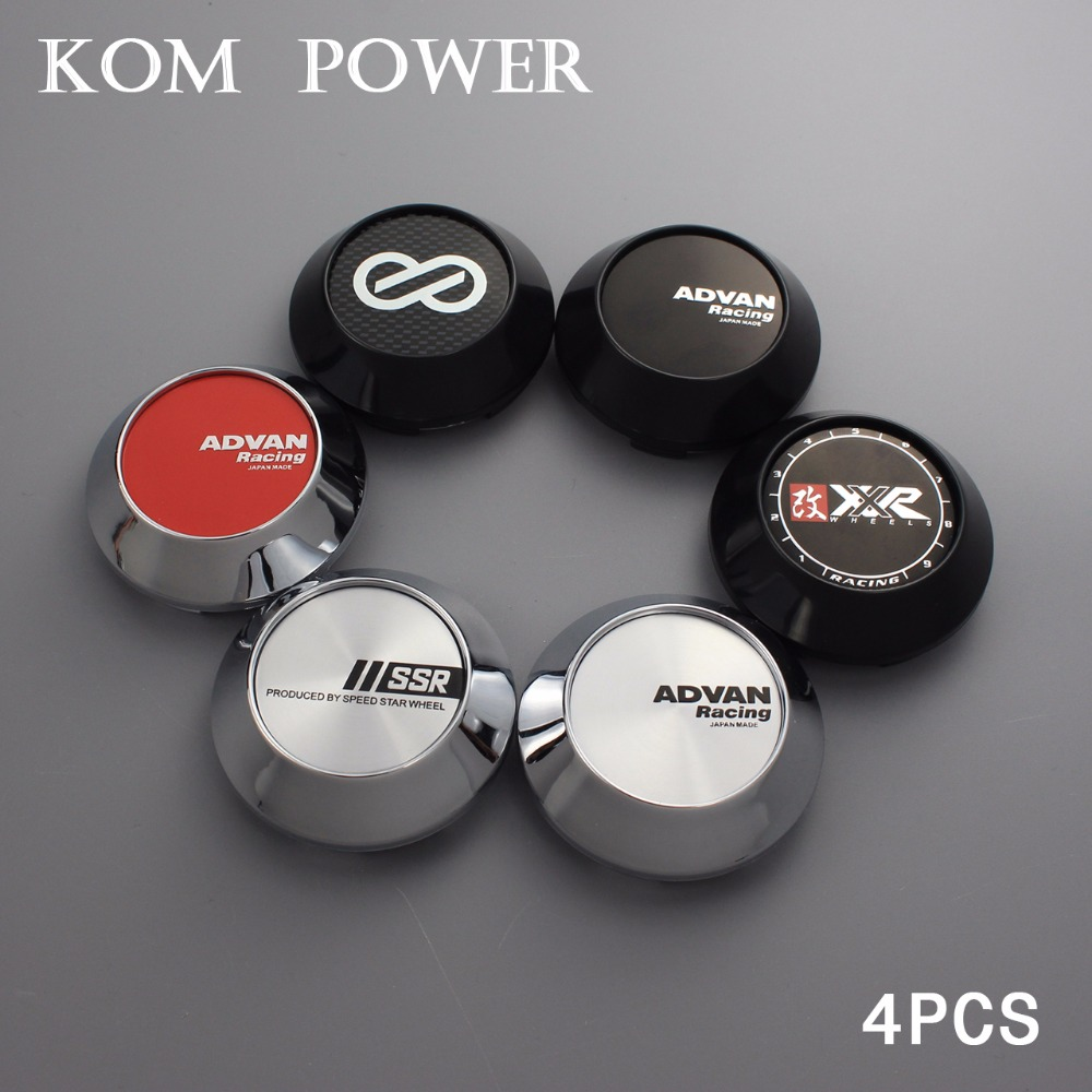 KOM 4pcs/lot 68mm car styling centro rodas advan racing chrome center cap for enkei ssr xxr clip 62mm/2.44 inch with steel ring