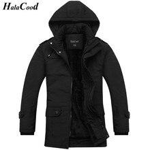HalaCood 2017 new arrival men's thick warm winter fur collar men parka big yards long cotton coat jacket parka men plus size 3XL