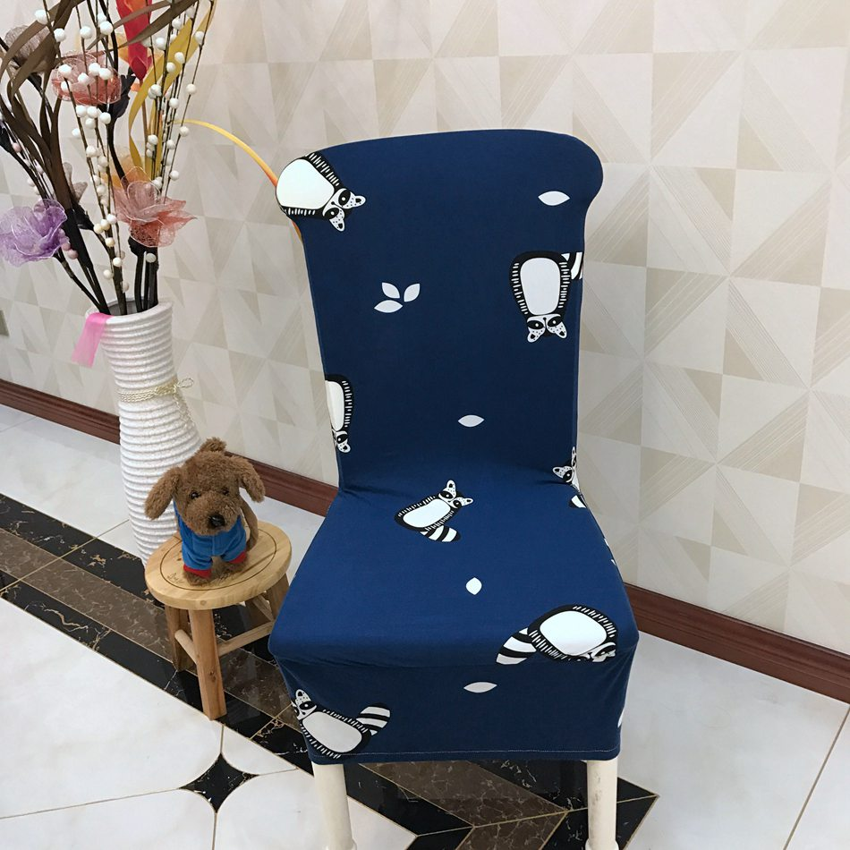 Cute Little Raccoon Printed <font><b>Chair</b></font> <font><b>Cover</b></font> Modern Spandex Dining <font><b>Chair</b></font> Slipcovers Cheap Polyester Fabric Design for Home Decor