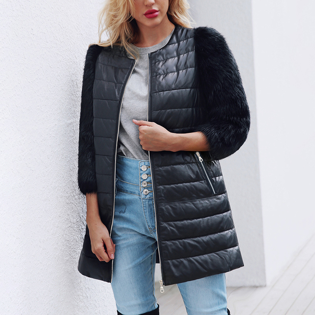 990dd8170 Fashion Winter Women Faux Fur Coat PU Leather Three Quarter Sleeve Jacket  Keep Warm Outwear Lady Casual Overcoat Plus Size