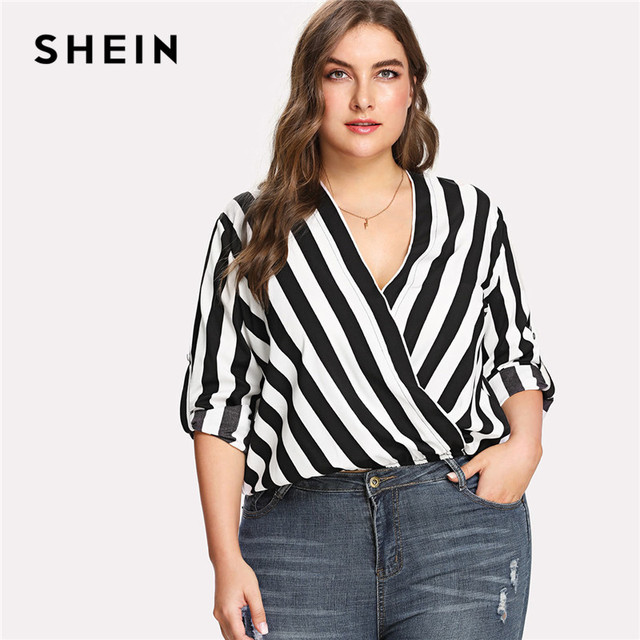 440edd9cf6f SHEIN Casual Workwear Womens Tops and Blouses Black and White Rolled Tap  Sleeve Surplice Wrap Striped Plus Size Summer Blouse