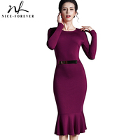 Nice-forever Casual Work dress Stylish Bodycon Office Lady Solid O Neck Full Sleeve Sequined Sheath Vintage Mermaid Dress b242