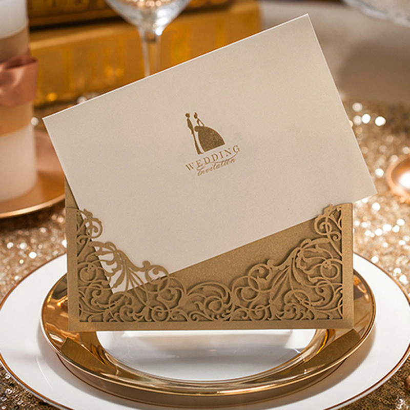 1pcs Sample Gold Groom And Bride Laser Cut Marriage Wedding