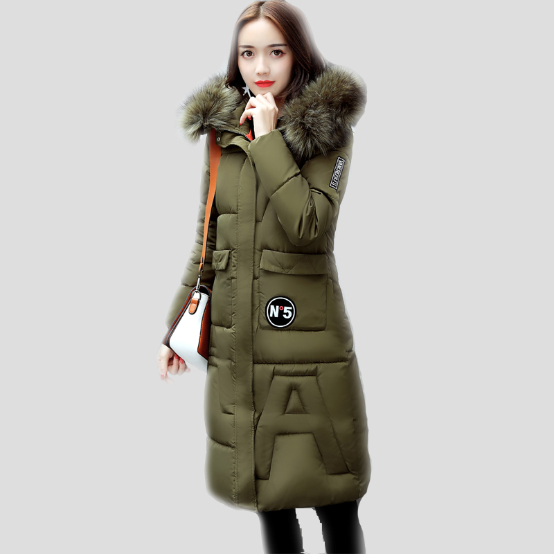 Winter jacket women 2017 Fashion Cotton Padded Warm long coat women Fake Fur collar Hooded Wadded Jacket Female Parkas Outerwear 2017 women winter jacket new fashion cotton padded long hooded coat parkas female wadded outwear fur collar slim warm parkas