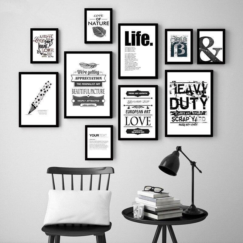 Nórdico minimalista negro blanco carta hoja cartel de impresión de ...