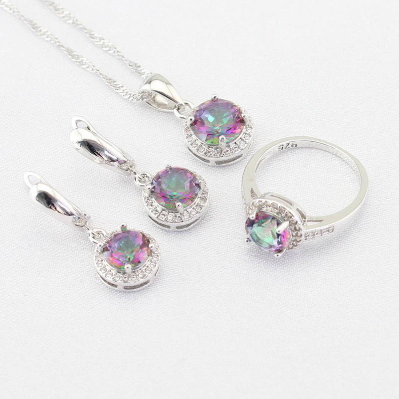 Multicolor Rainbow White Cubic Zirconia Silver Color Jewelry Sets For Women Necklace Pendant Earrings Rings Free Gift Box orange morganite stylish jewelry set for women white zircon gold color rings earrings necklace pendant bracelets