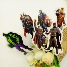 24pcs Avenger Cake Dessert Inserted Card Prod With Picture Decoration Cupcake Picks Kid Birthday Party