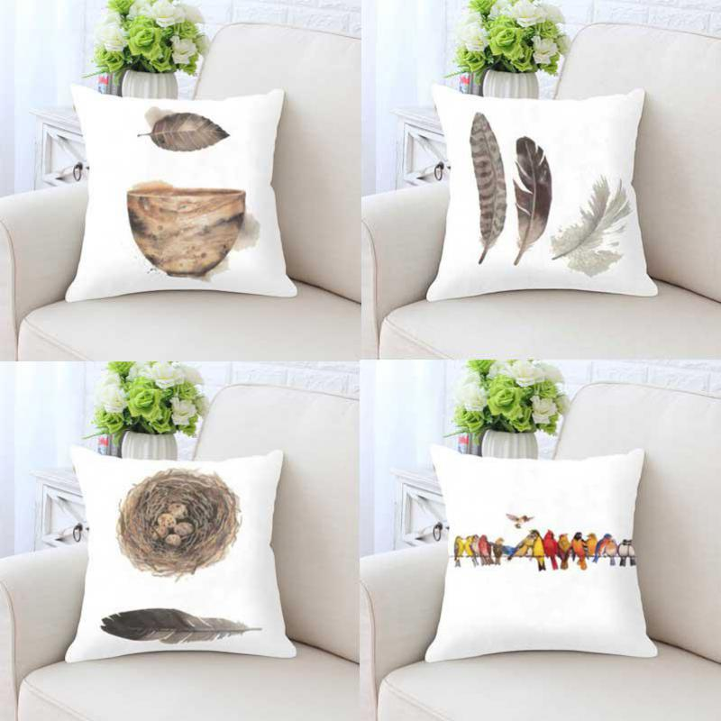 Home Decoration Nordic Style Cushion Bird Nest Egg Feathers Deer Head Antlers Forest Watercolor Ink Fish Bouquet Flowers Pillow
