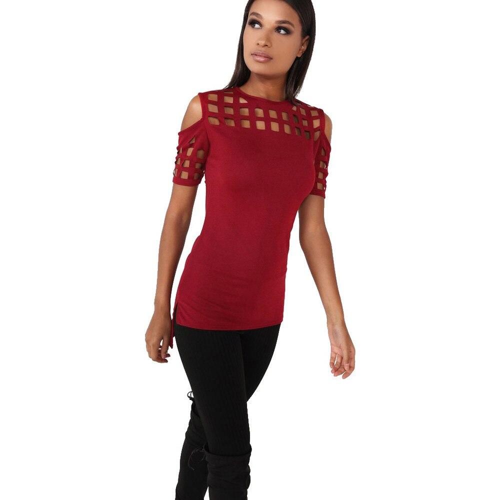 HTB1Lk74OFXXXXcpXpXXq6xXFXXX2 - T-shirts Women Fashion Off The Shoulder Hollow Out Short Sleeve