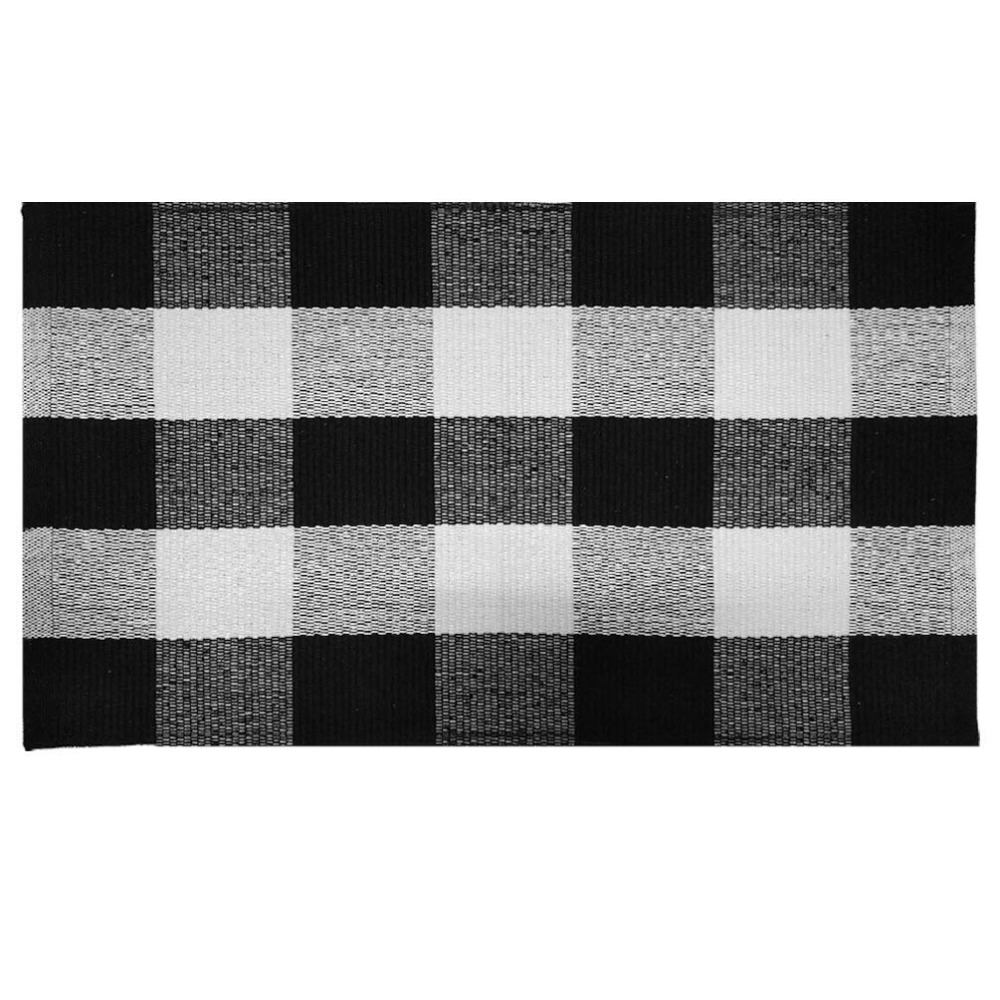 100% Cotton Black/White/Gray Buffalo Check Doormat Hand-woven Checkered Plaid Carpet And Rug For Bathroom/Entry Way/Bedroom Mat