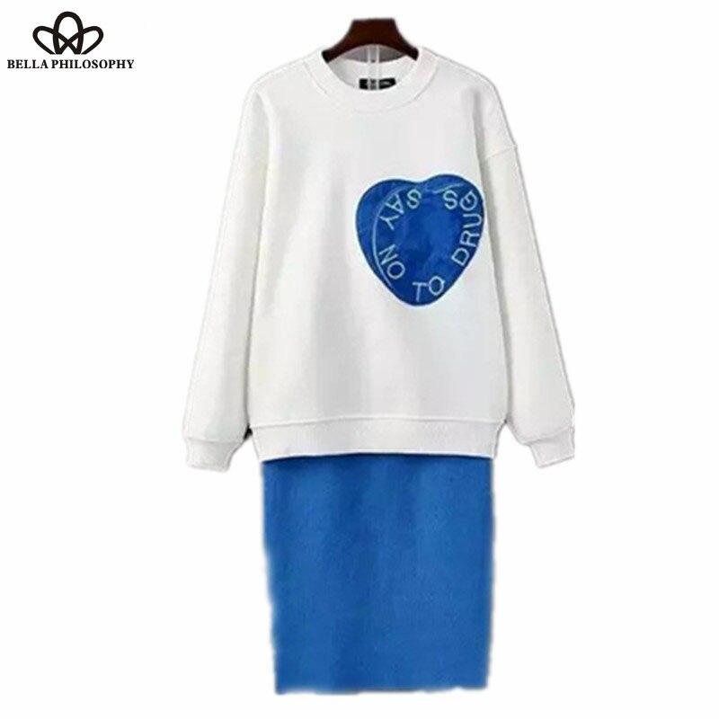 Bella Philosophy 2016 spring new brand design heart print fleeced hoodie knitted sweatershirt skirt 2 pcs set pink blue
