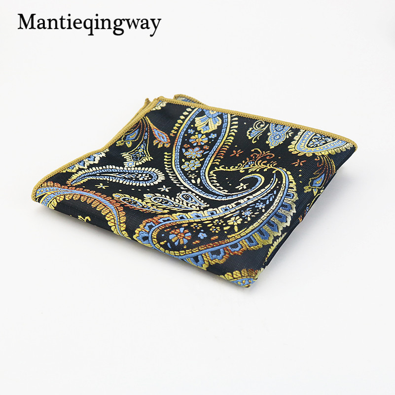 Mantieqingway Wedding Polyester Silk Pocket Square Party Paisley & Dot Handkerchiefs Women Hanky 24cm Pocket Towel For Mens Suit