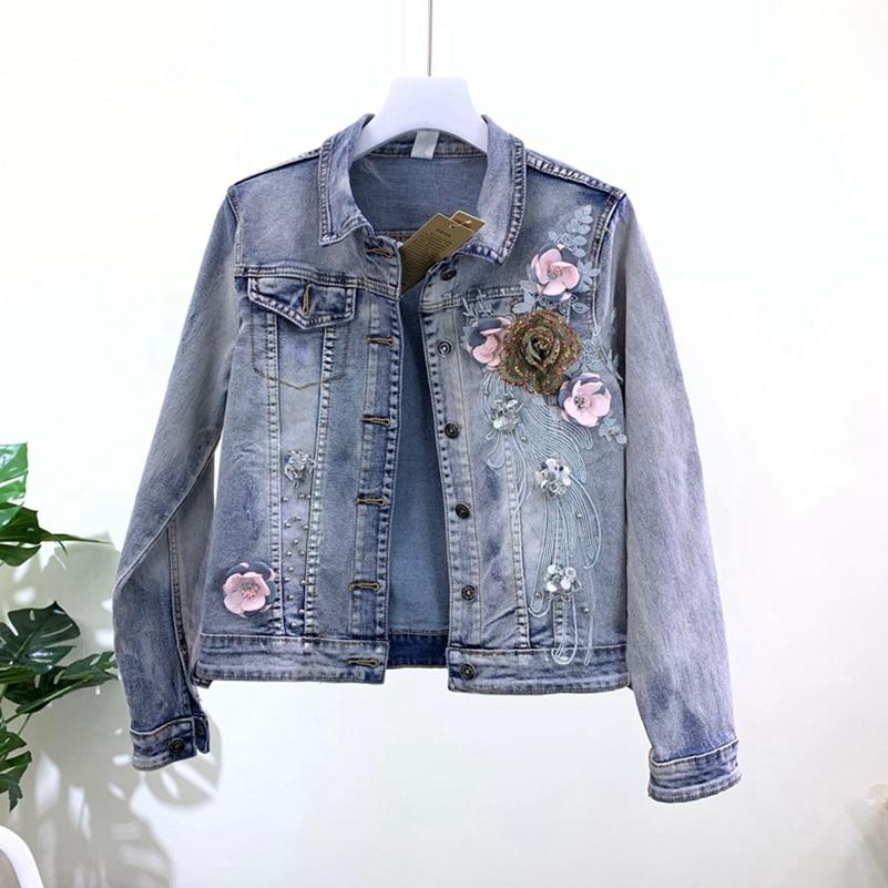 SexeMara fashion The New Slim fit Slim Three dimensional flower Beading denim jacket Free shipping
