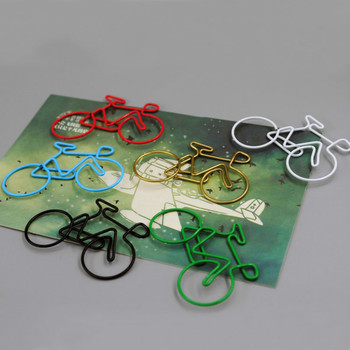 цена на Bicycle paper clips bike shaped metal paper clip bookmark multicolour customize bike paper clips