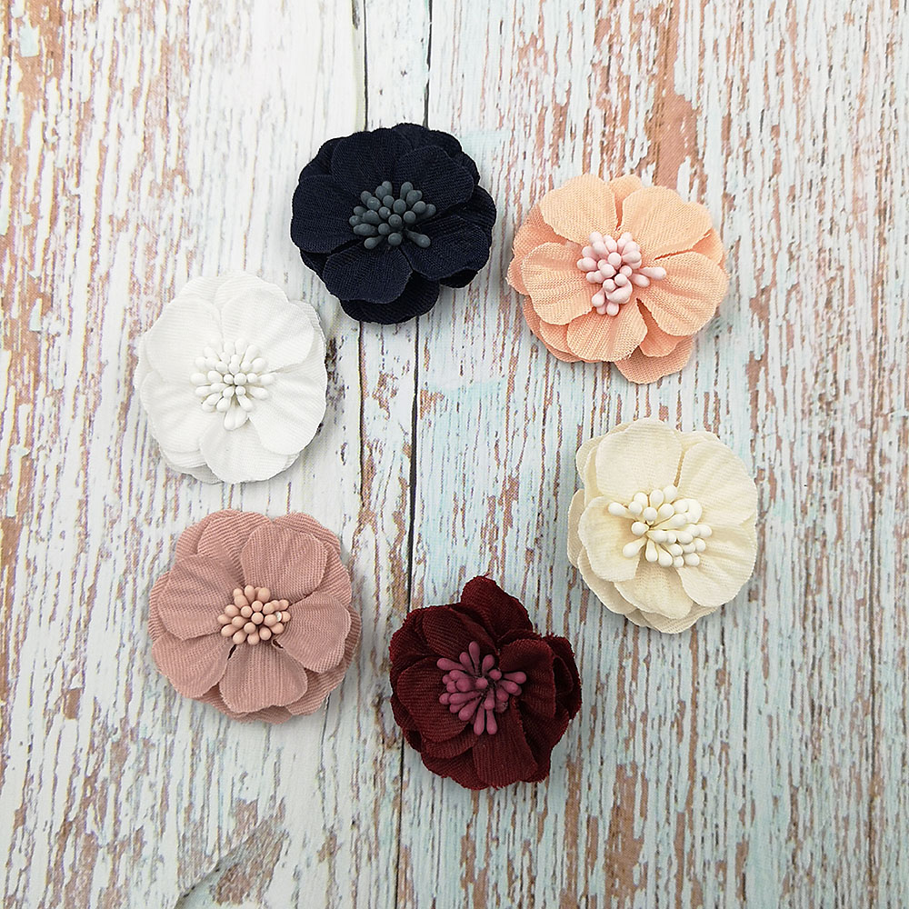 10pcs Suede Camellia Flower Heads Embellishments for Wedding Decoration Craft