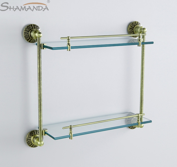 Free Shipping European Brass&glass Bronze Finishing Double Shelf Bathroom Shelves,bathroom Products Accessories-89013 цена 2017