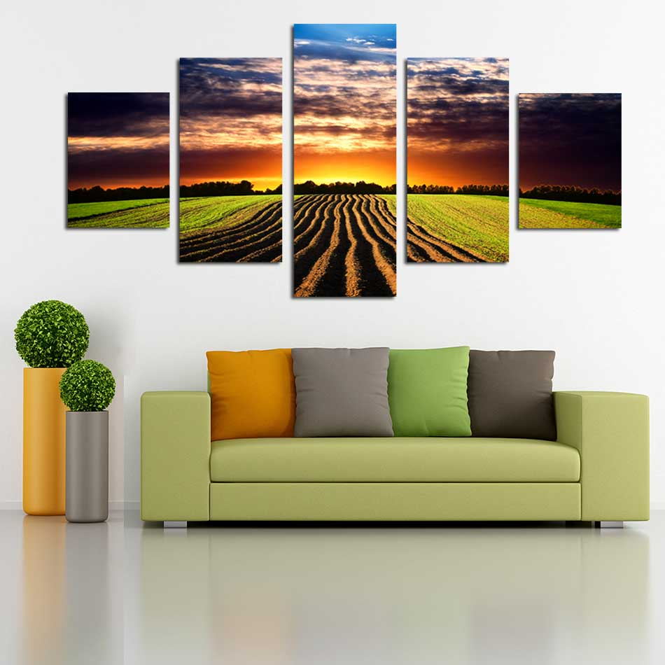 5 panels unframed canvas painting print field at dark sky scenery pictures for home decoration living room wall art poster