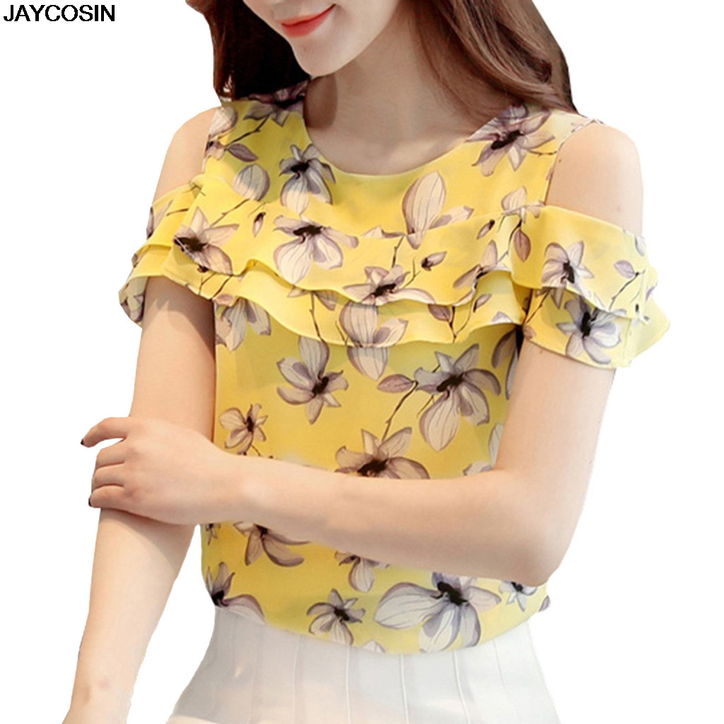 JACOSIN 2019 Women's Chiffon Blouse Summer shirt Floral Ladies  Off Shoulder Ruffles Tops Casual Short Sleeves Print for female