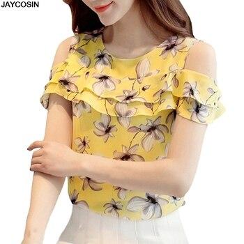 JACOSIN 2019 blusa de chifón para verano para mujer camisa Floral de las señoras de hombro volantes camisetas Casual manga corta estampado para mujer