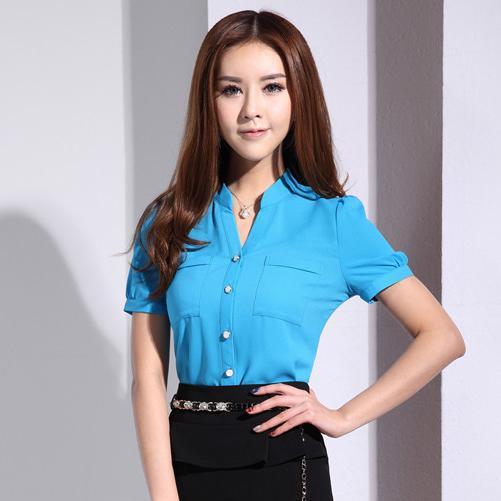 cfdebec5da3 New 2015 Summer Fashion Women Blouses   Shirts Short Sleeve OL Office  Ladies Blue Blouses Female Tops Office Uniform Shirts