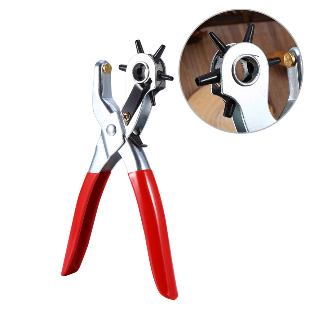 Multi-function Portable Puncher Heavy Duty Leather Hole Punch Hand Tool Pliers Belt Watch Holes Punches Rivets Pliers цена