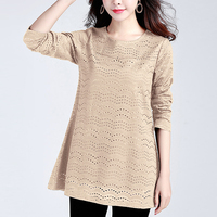 2019 spring new Large size M 5XL Lace Tops women Solid color vintage Long sleeve Hollow shirts Cotton Loose O Neck shirts women