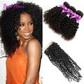 7A Brazilian Kinky Curly Virgin Hair With Closure 3 Bundles Brazilian curly hair with closure Soft Curly Human Hair With Closure