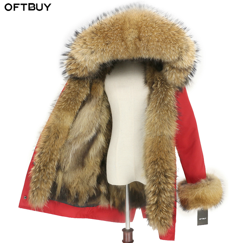 OFTBUY Waterproof Real Fur Coat Long Parka Winter Jacket Women Natural Raccoon Fur Collar Hood Fox
