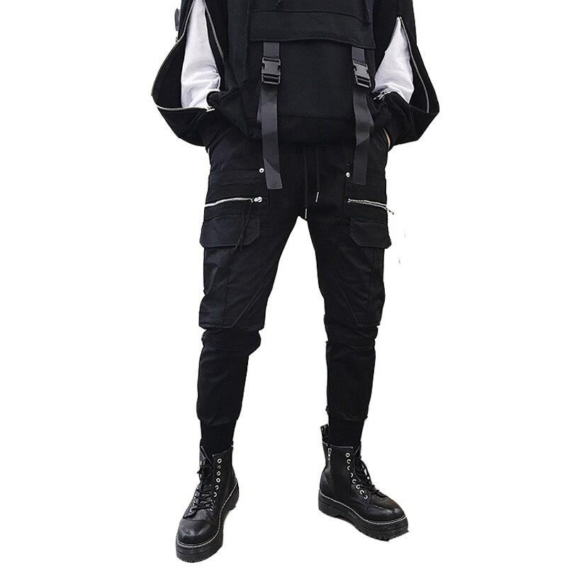 Men Autumn Winter New Zipper Pocket Casual Pant Male Black Streetwear Cargo Trousers High Street Fashion Hip Hop Overalls Pant