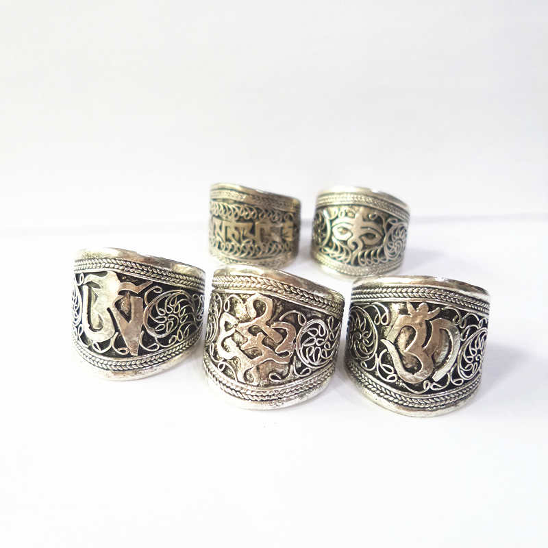 Tibetan Silver Mantras Amulet Serial Rings Multi Totem Symbols Open Ring For Male OM Endless Knots Wisdom Eye R154