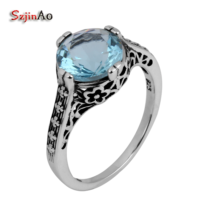 Szjinao Fashion 925 sterling silver ring flower wholesale antique jewelry aquamarine womens ring